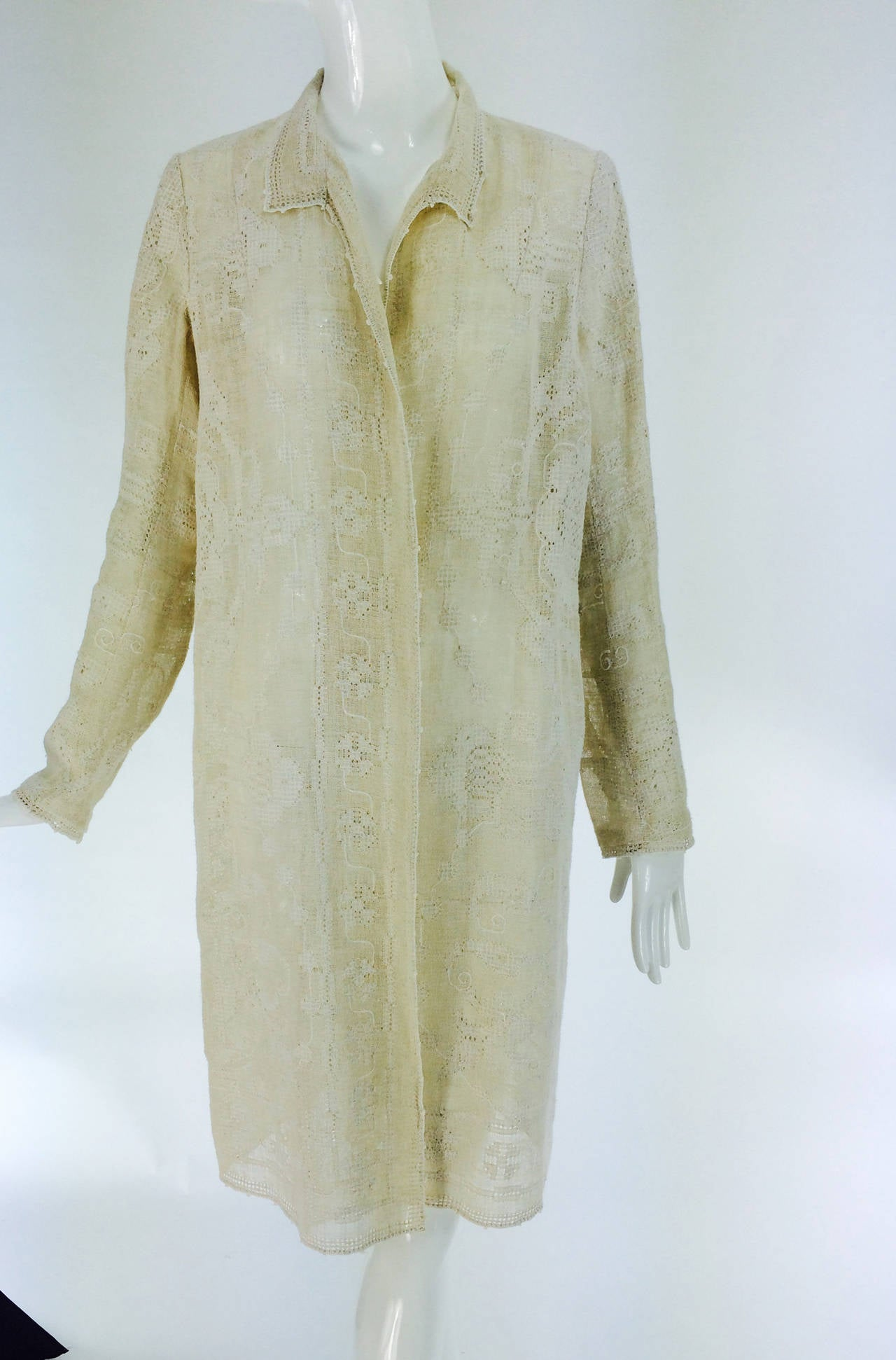 1920s Ivory Drawncounted Thread Embroidered Linen Summer Coat For Sale At 1stdibs