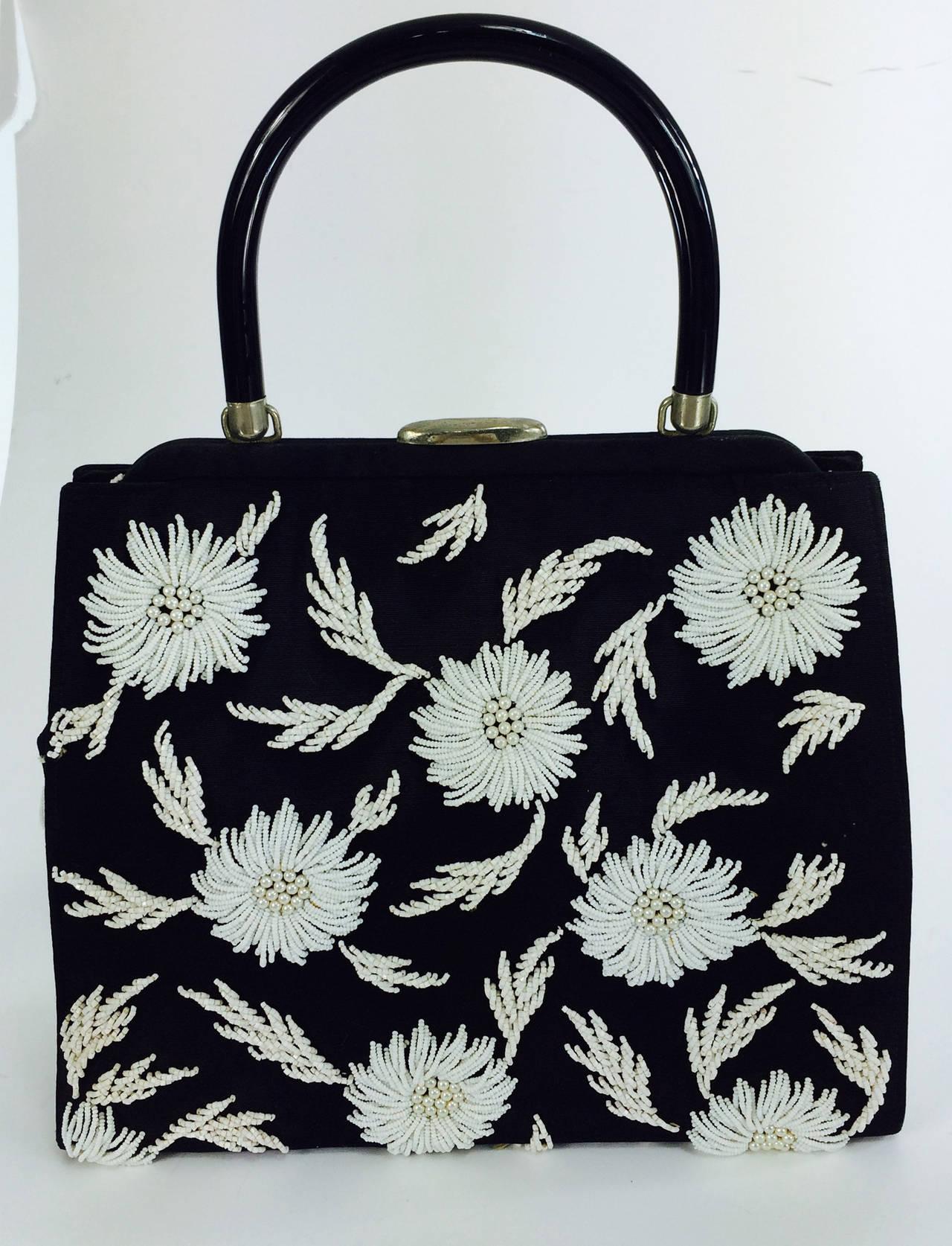 1950s black faille & white floral beaded handbag Elise Tu Hong Kong 2