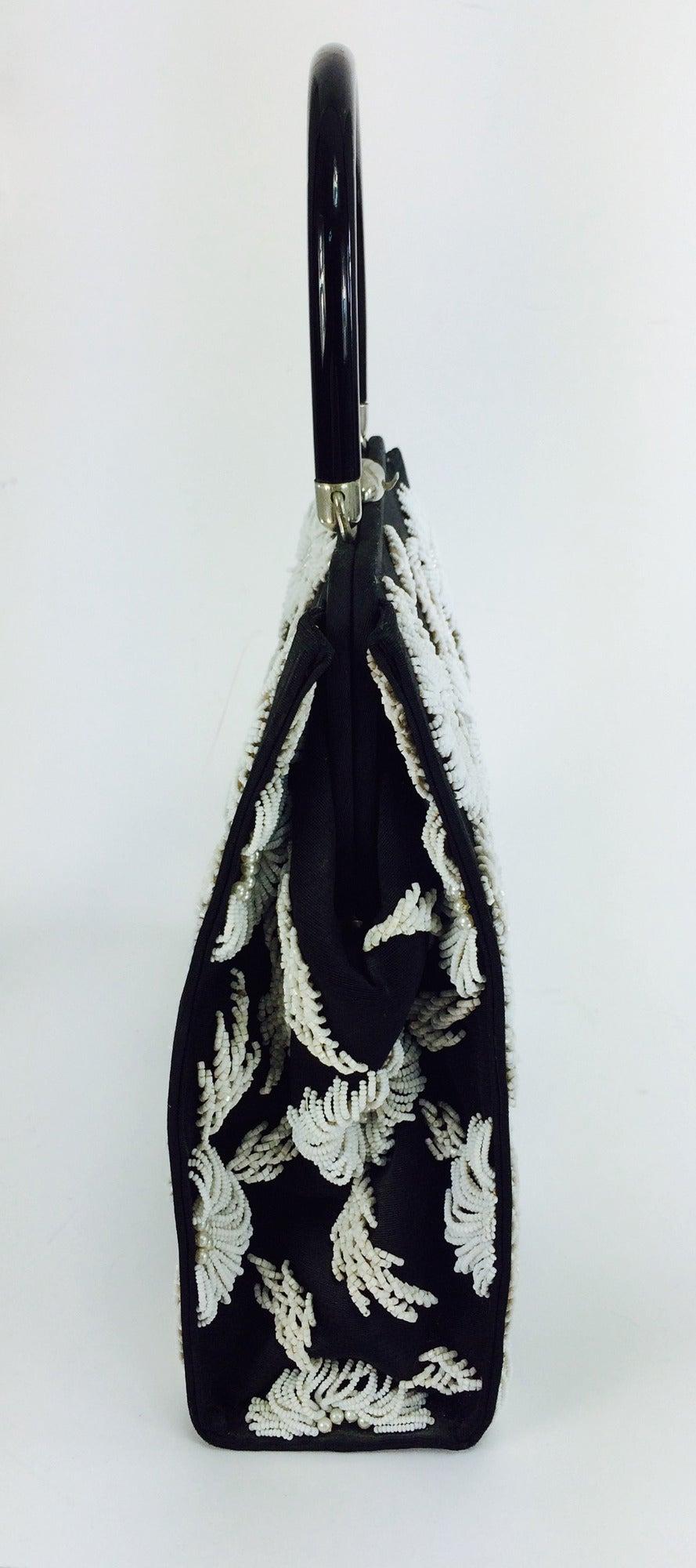 1950s black faille & white floral beaded handbag Elise Tu Hong Kong 3