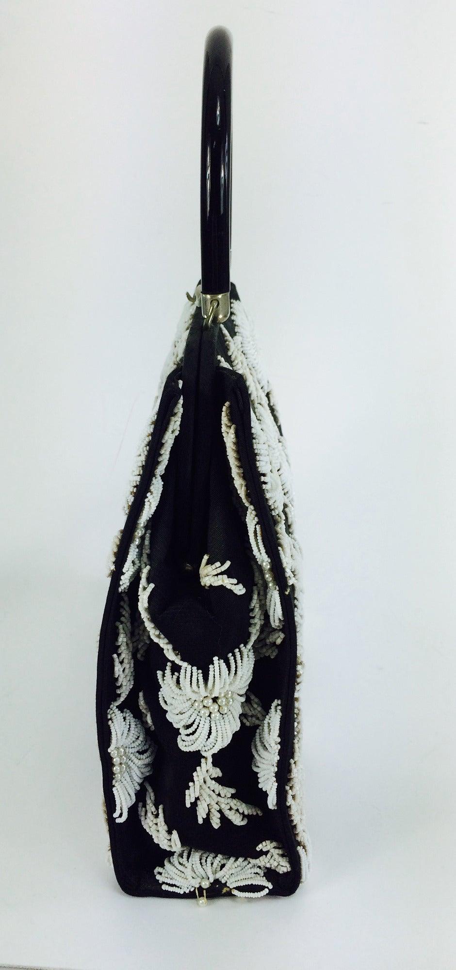 1950s black faille & white floral beaded handbag Elise Tu Hong Kong 4