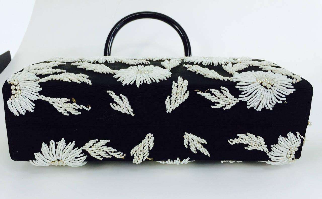 1950s black faille & white floral beaded handbag Elise Tu Hong Kong 5