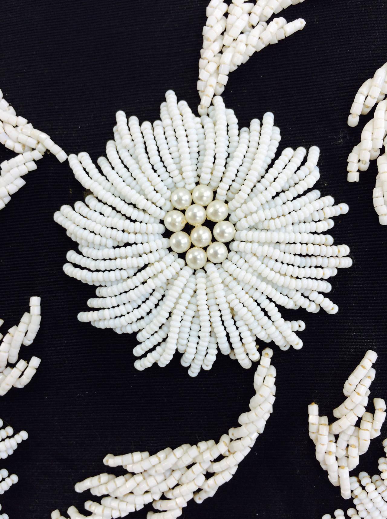 1950s black faille & white floral beaded handbag Elise Tu Hong Kong 7
