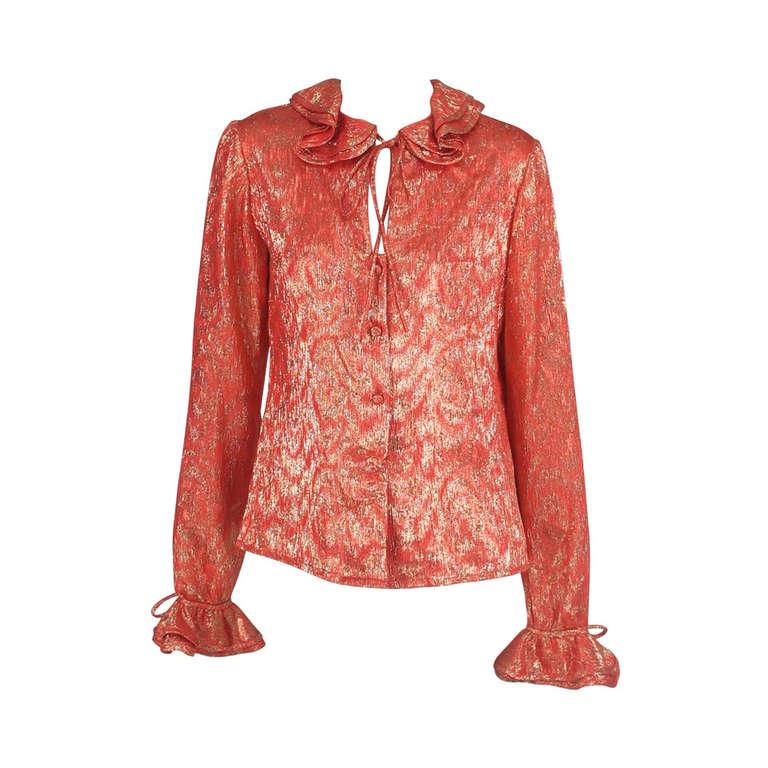 1970s Adolfo coral & gold metallic blouse 1
