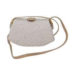 1970s Rodo Italy white wicker shoulder bag