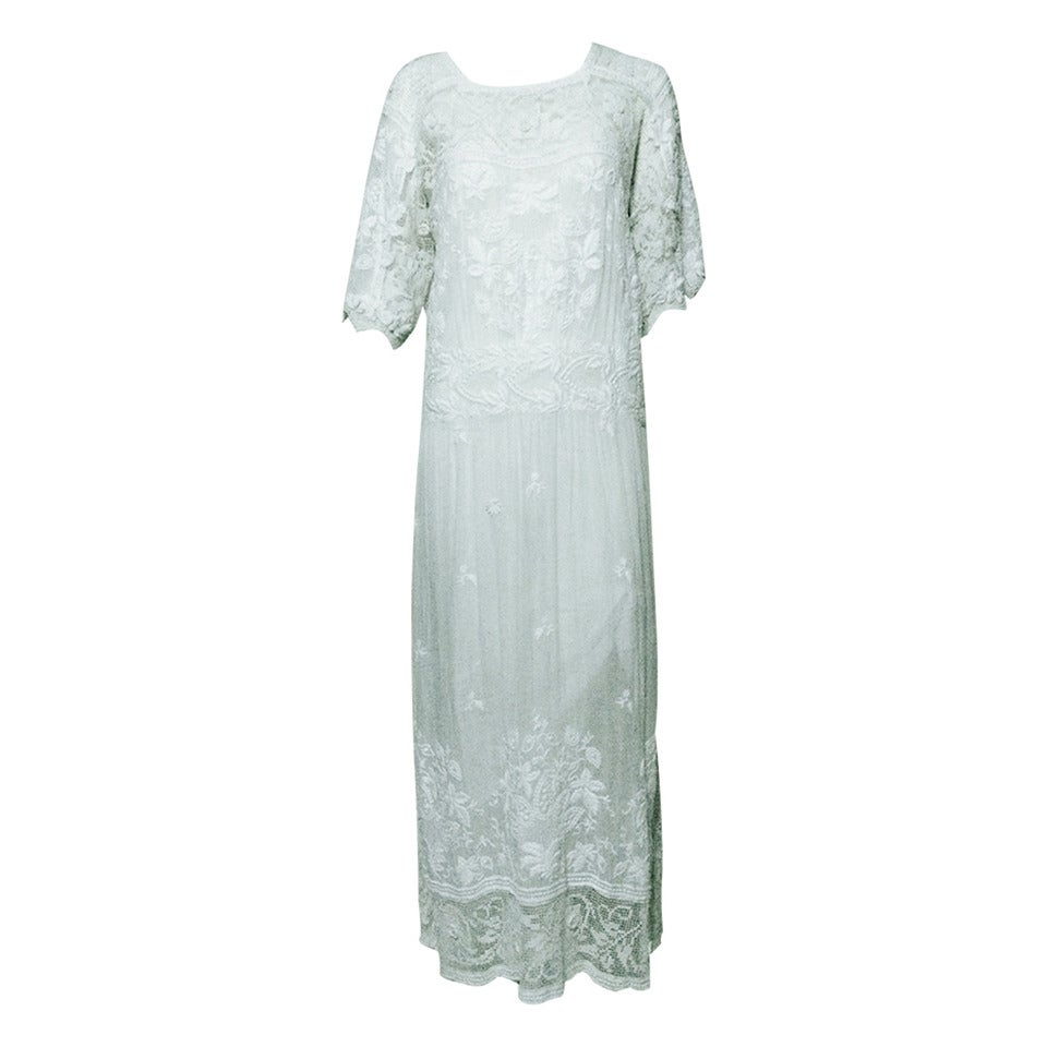 Edwardian embroidered white batiste & handmade lace dress 1