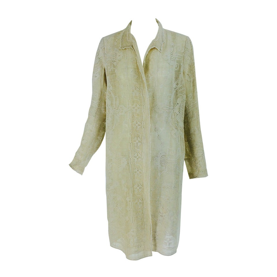 1920s ivory drawn/counted thread embroidered linen summer coat