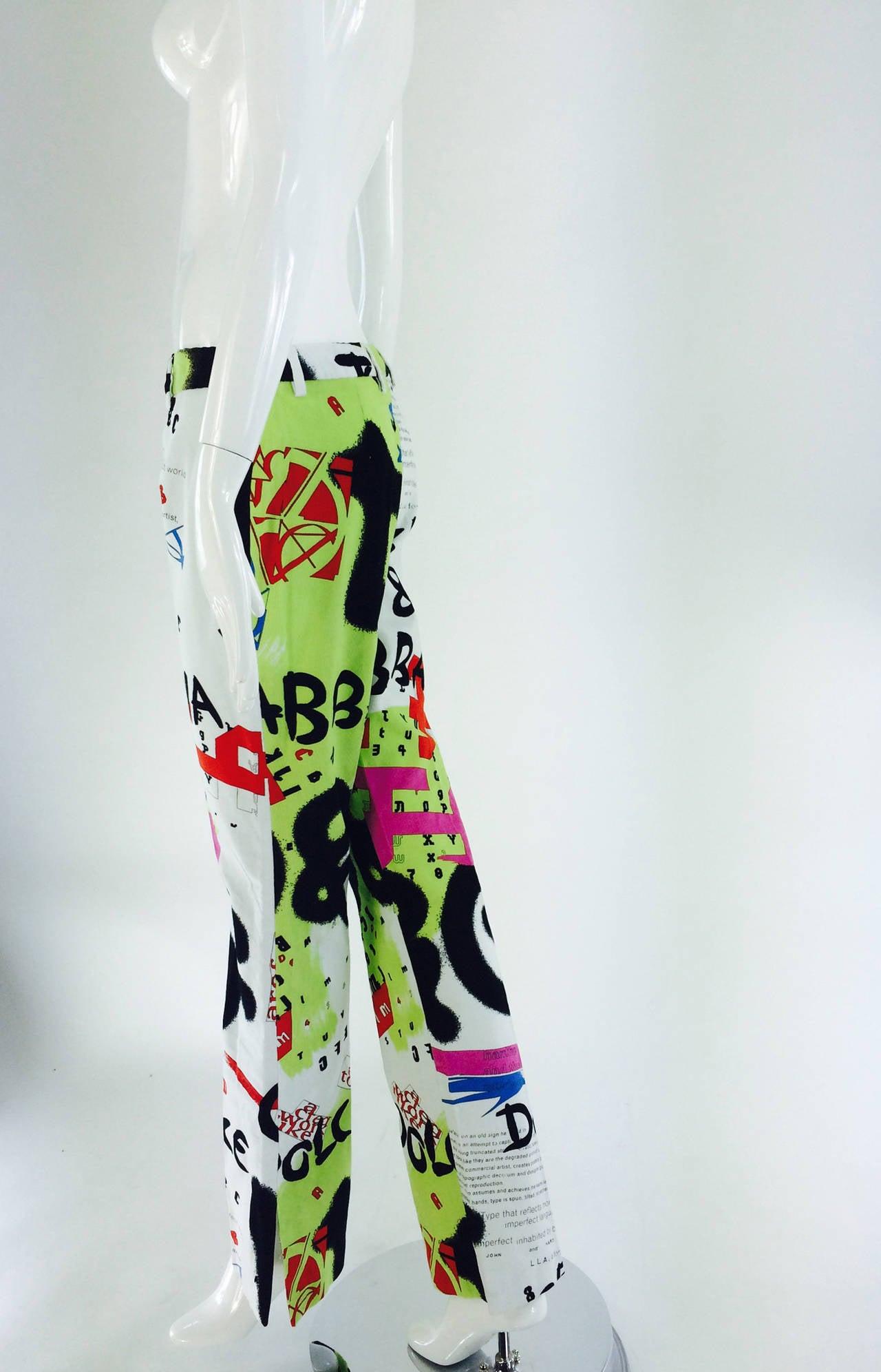 1990s Dolce & Gabbana grafitti trousers 28/42 7