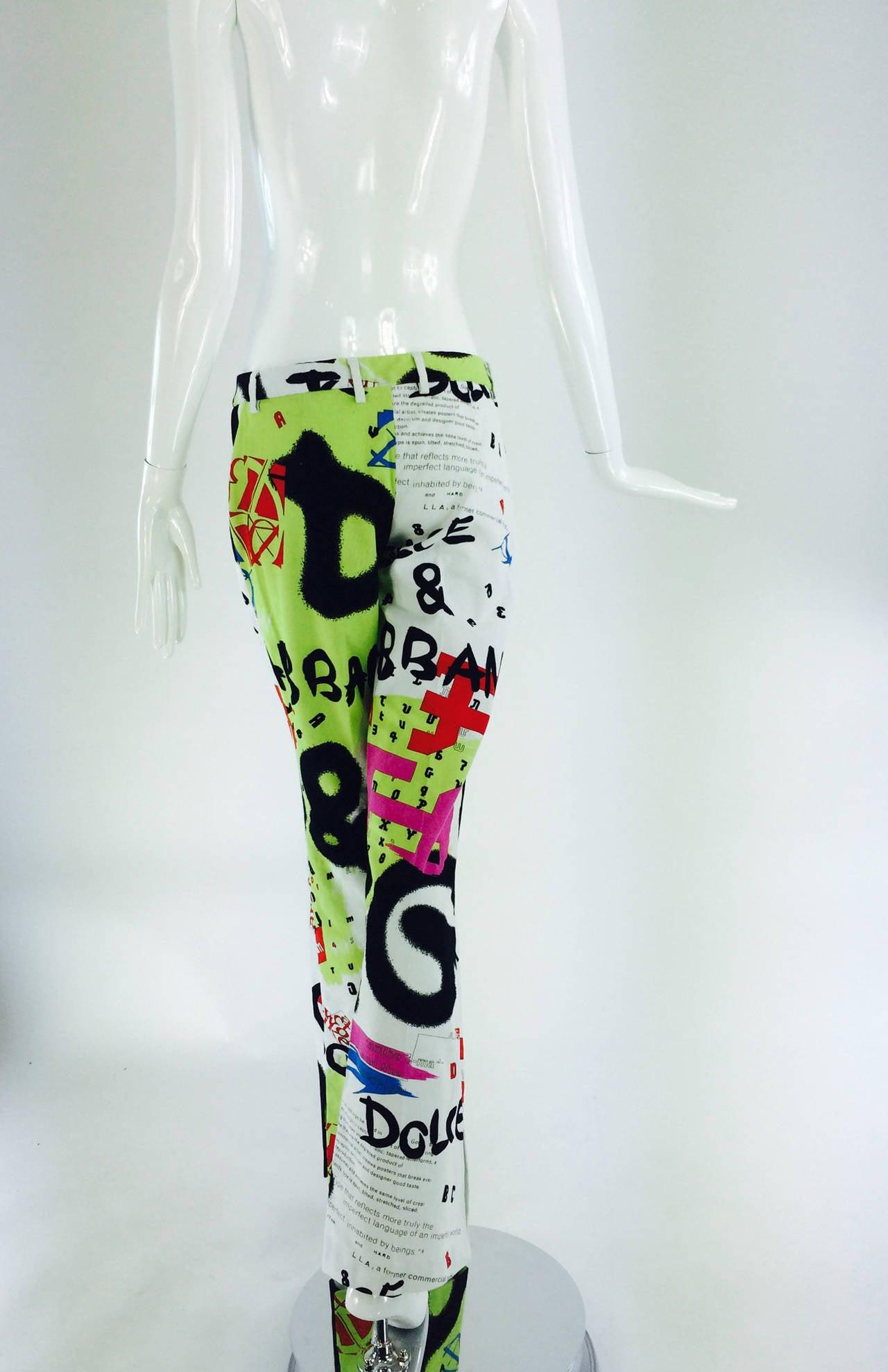 1990s Dolce & Gabbana grafitti trousers 28/42 6