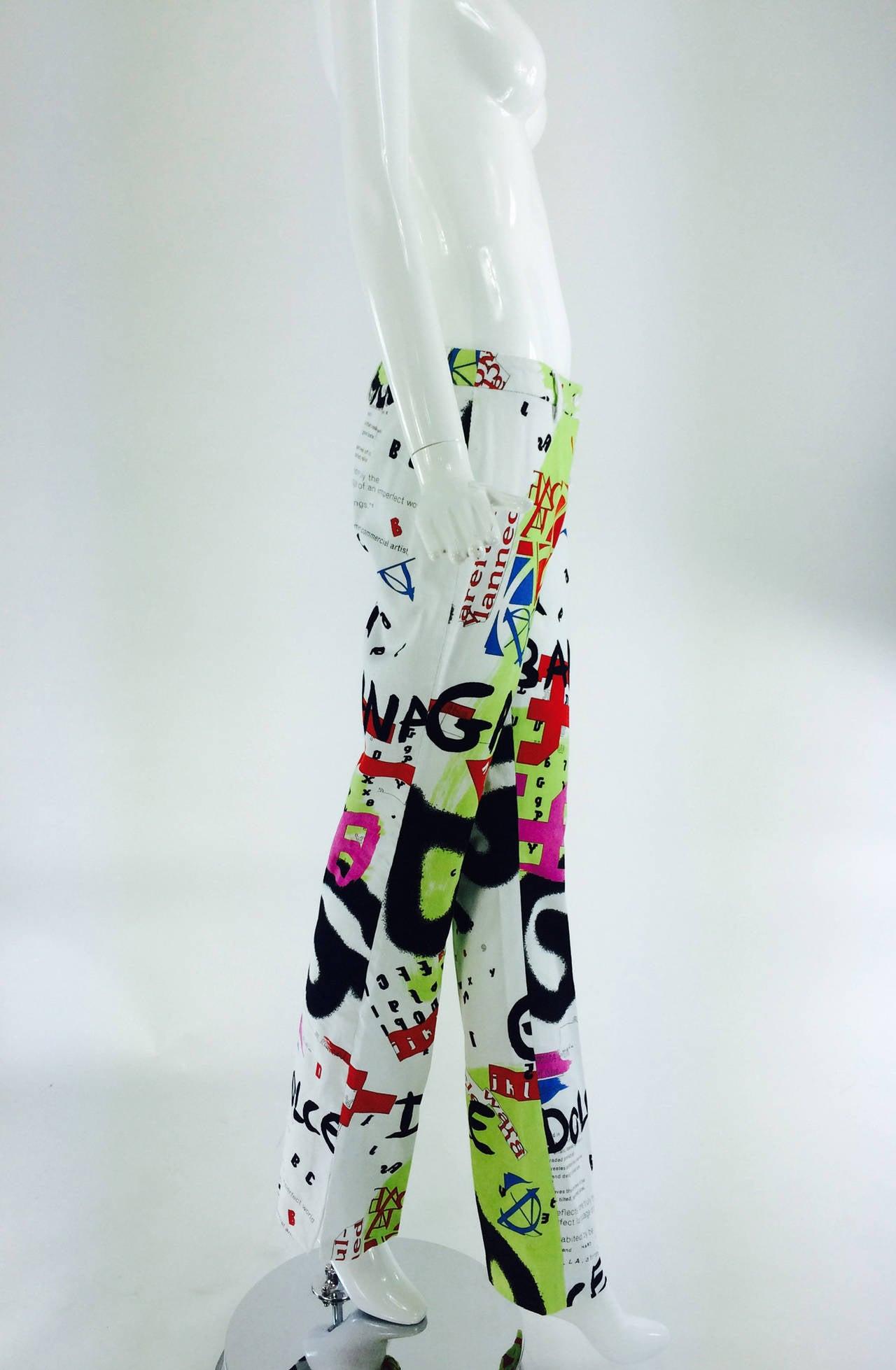 1990s Dolce & Gabbana grafitti trousers 28/42 4