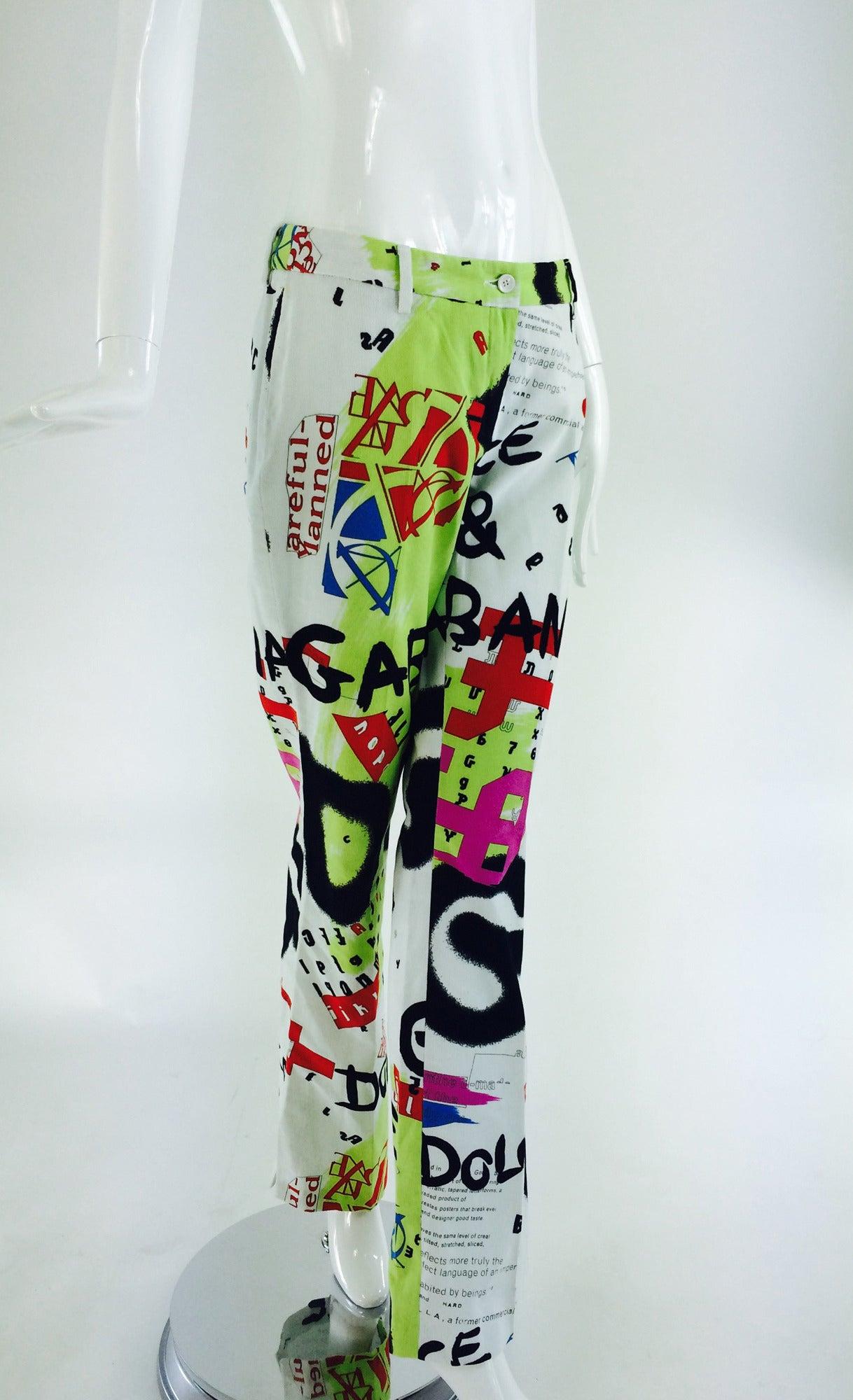 1990s Dolce & Gabbana grafitti trousers 28/42 3