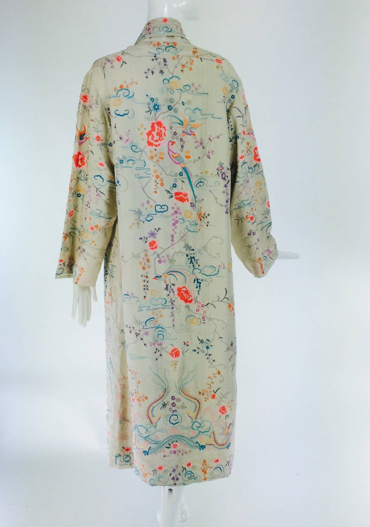 1920s Canton export ivory silk embroidered evening coat 6