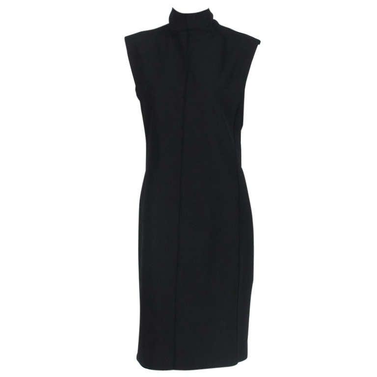 Yves St Laurent black silk bow back sheath dress