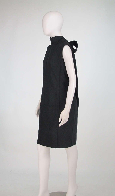 Black Yves St Laurent black silk bow back sheath dress For Sale