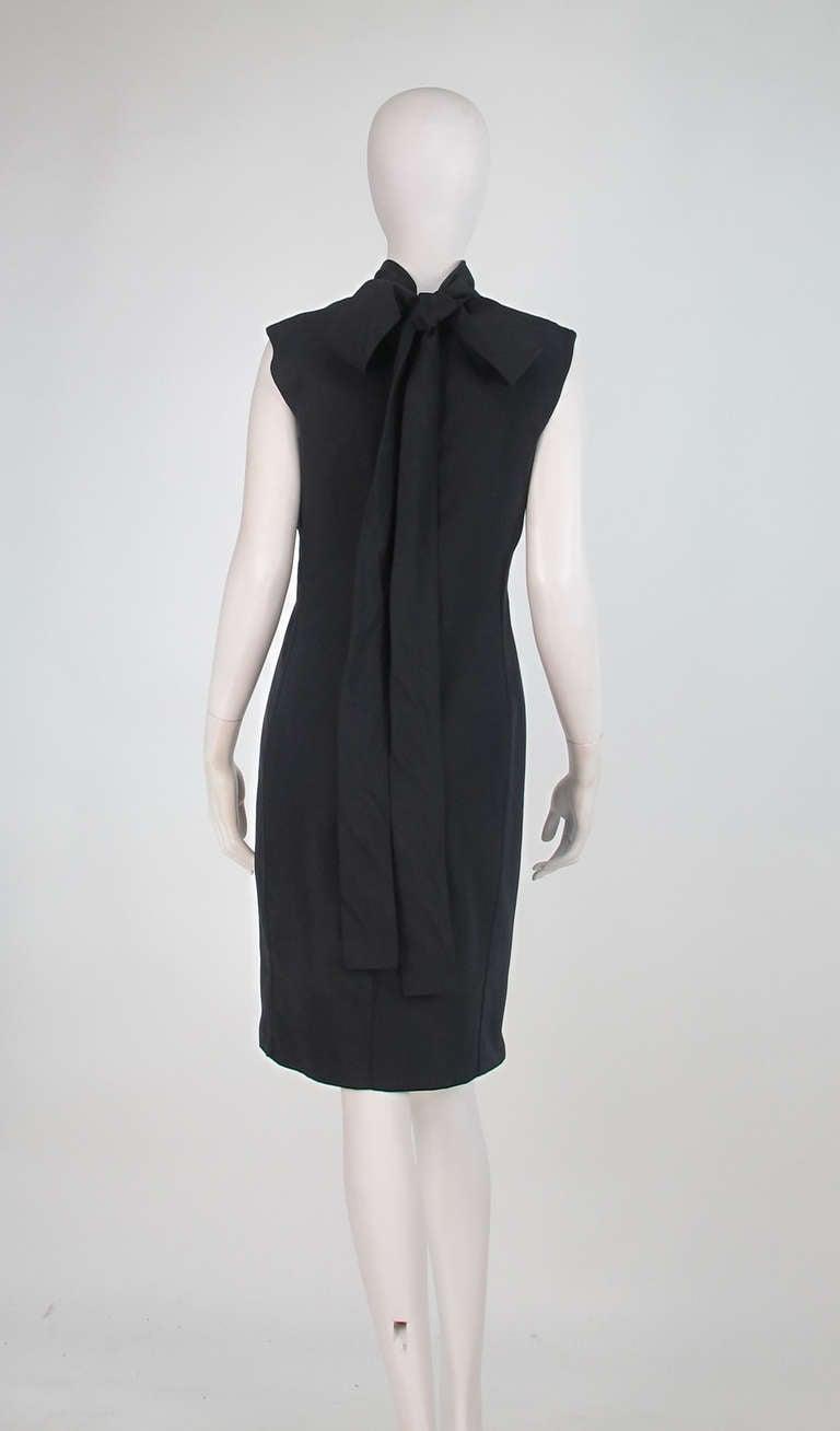 Women's Yves St Laurent black silk bow back sheath dress For Sale
