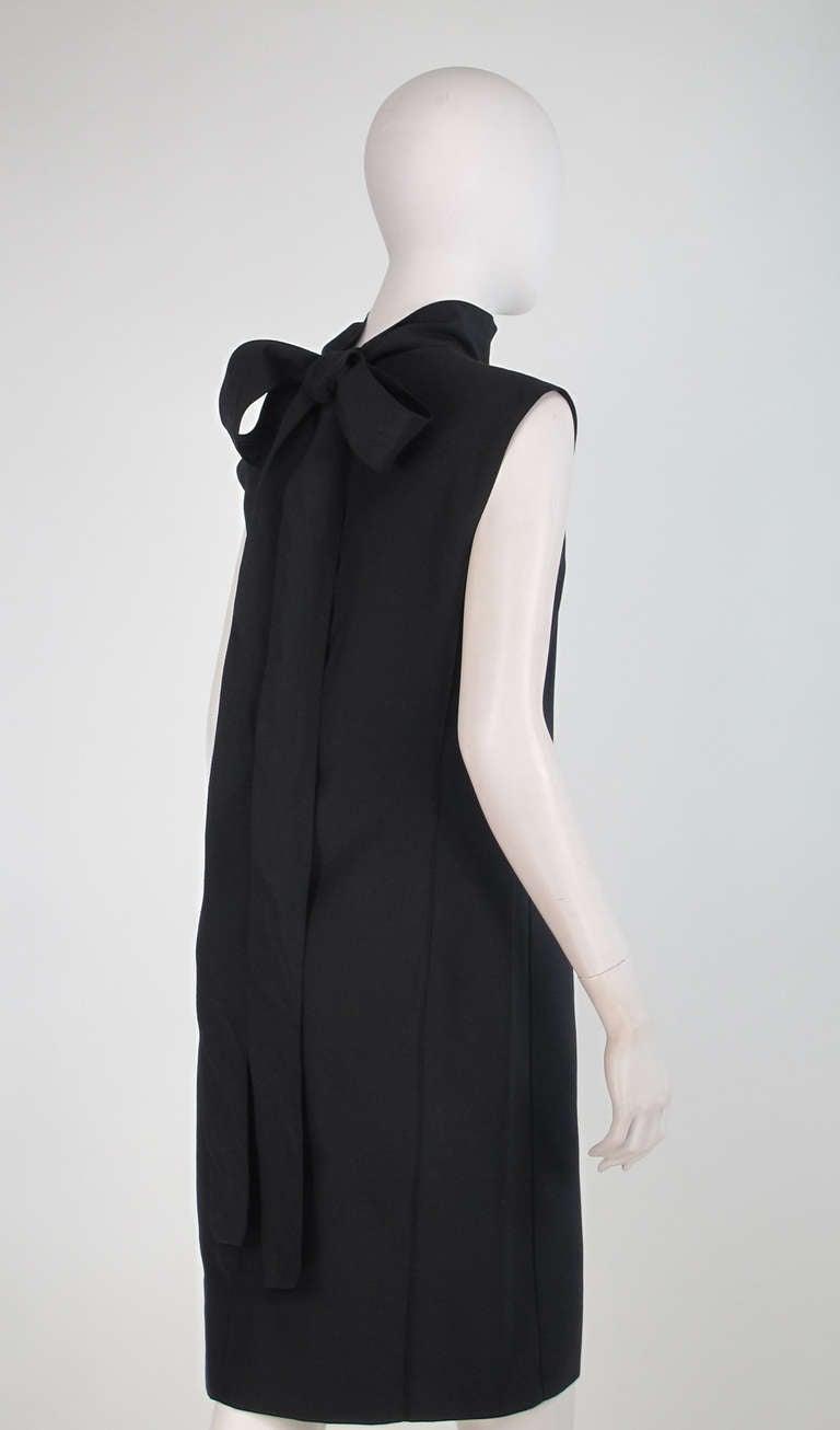 Yves St Laurent black silk bow back sheath dress For Sale 1