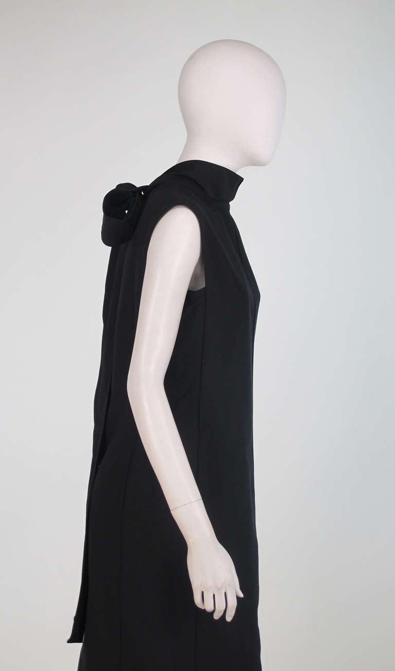 Yves St Laurent black silk bow back sheath dress For Sale 2