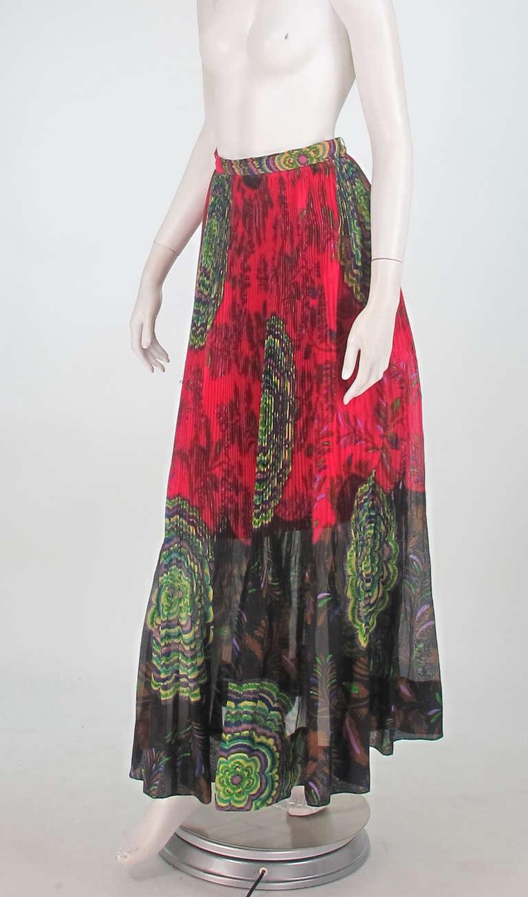 1970s Lanvin silk print organza maxi skirt 2