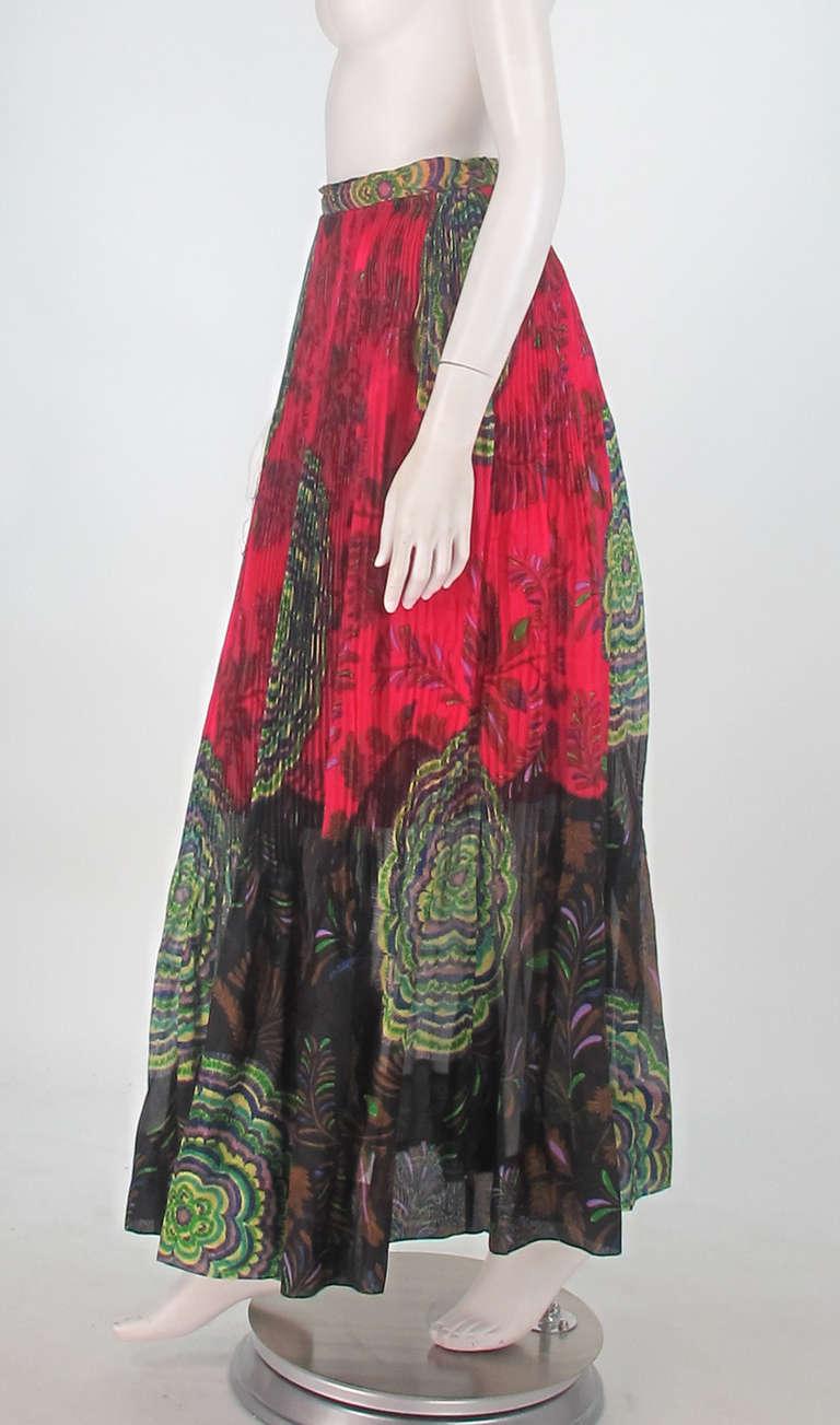 1970s Lanvin silk print organza maxi skirt 3