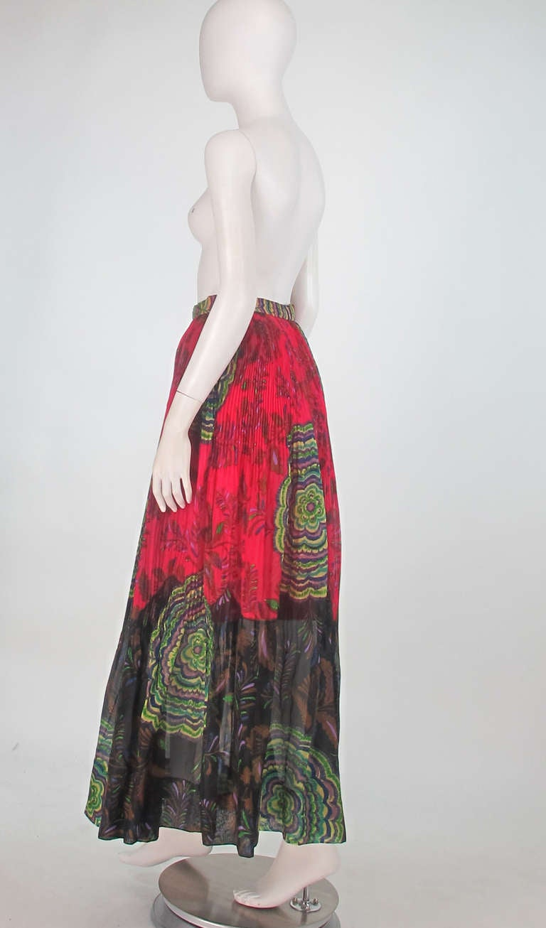 1970s Lanvin silk print organza maxi skirt 4