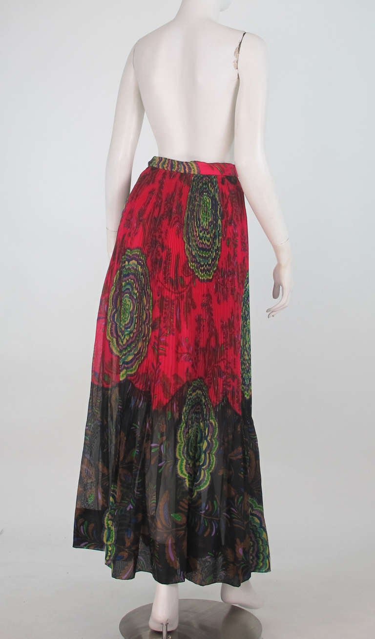 1970s Lanvin silk print organza maxi skirt 6