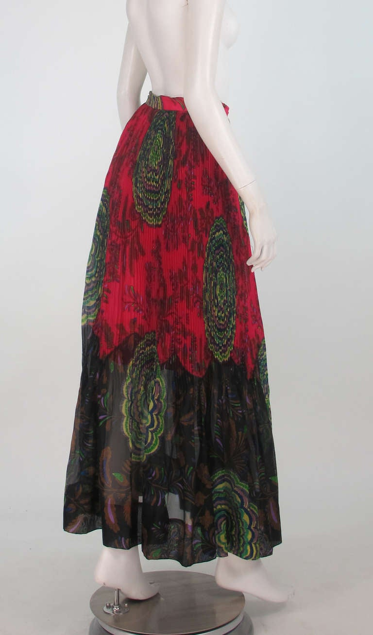 1970s Lanvin silk print organza maxi skirt 7