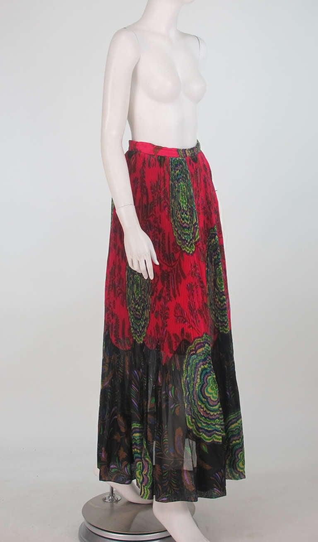 1970s Lanvin silk print organza maxi skirt 8