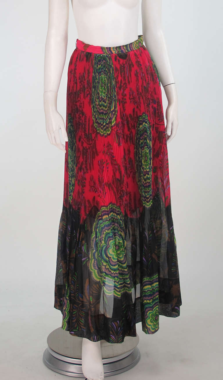 1970s Lanvin silk print organza maxi skirt 9