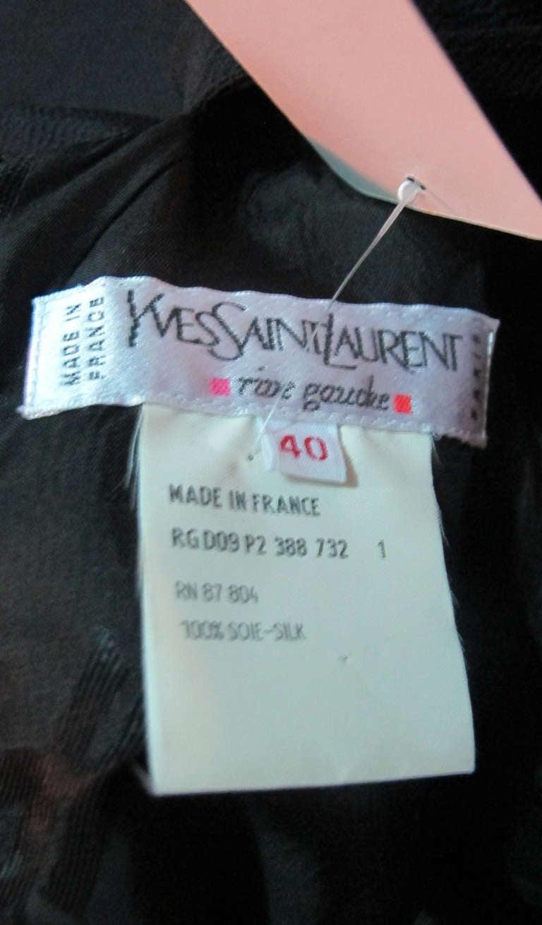 Yves St Laurent black silk bow back sheath dress For Sale 3