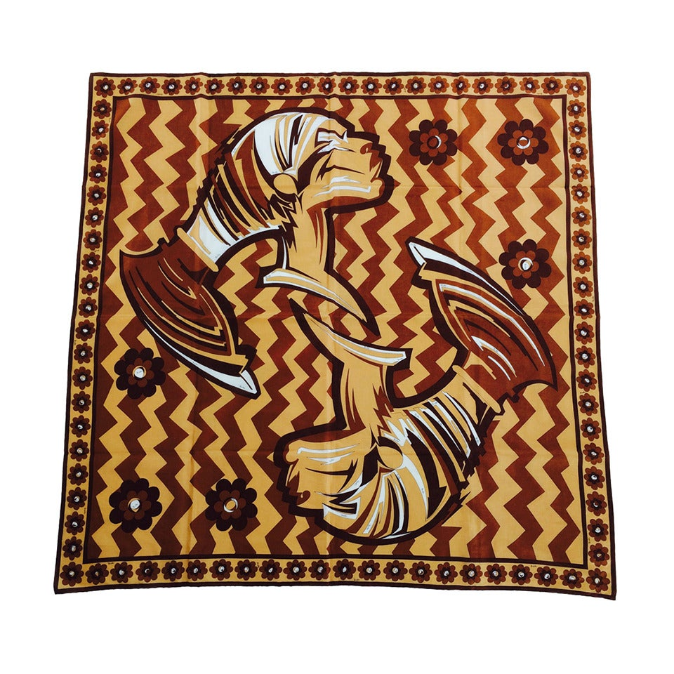 "Pucci cotton scarf African design print 1970s    35"" x 35"""