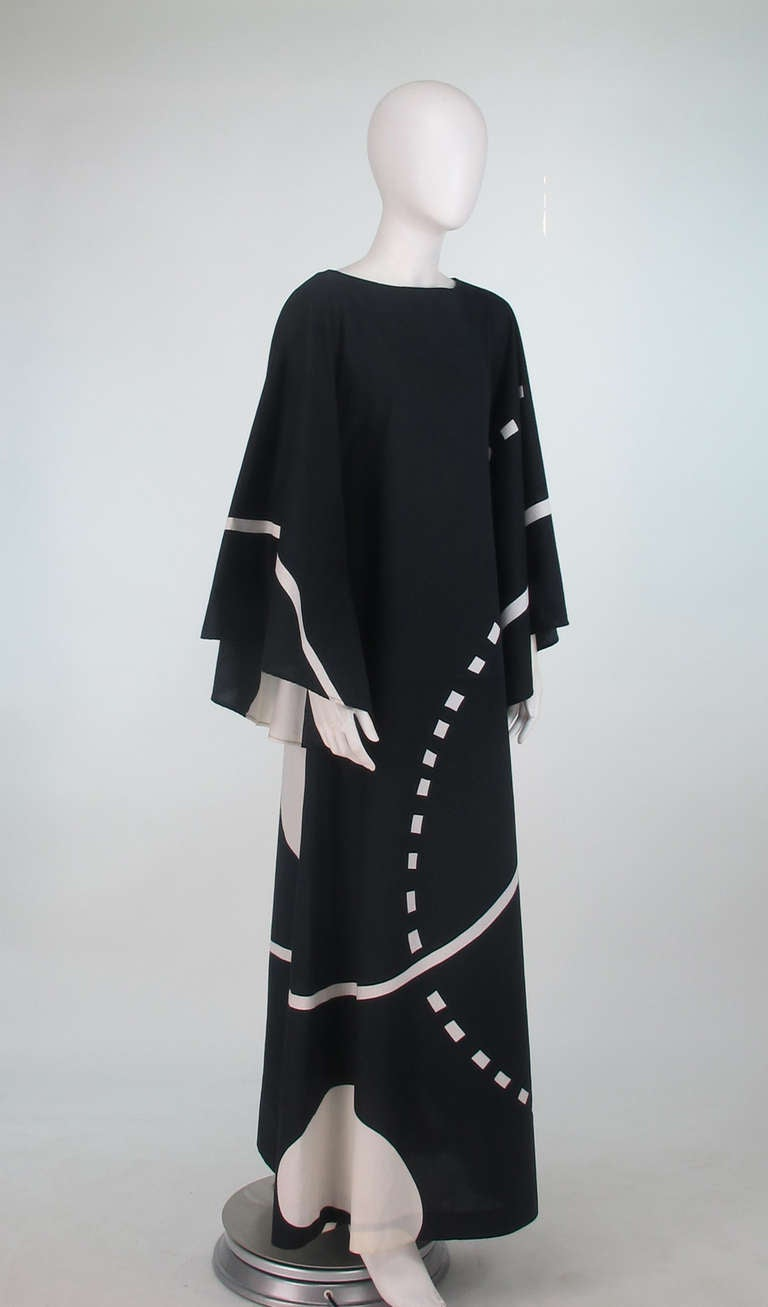 1976 Marimekko Oy Black And White Angel Sleeve Caftan At