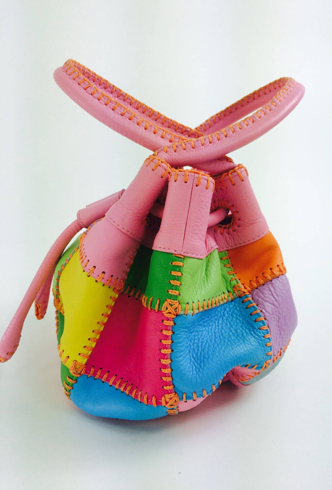 Carlos Falchi soft pebble leather patchwork day bag In New never worn Condition For Sale In West Palm Beach, FL
