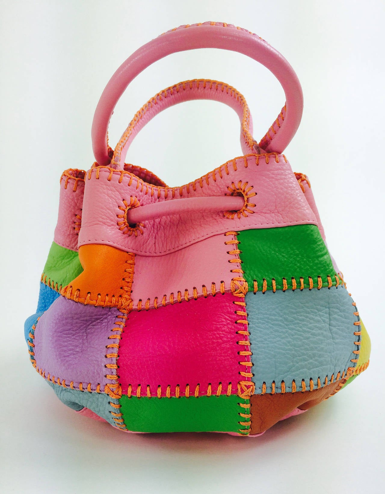 Pink Carlos Falchi soft pebble leather patchwork day bag For Sale