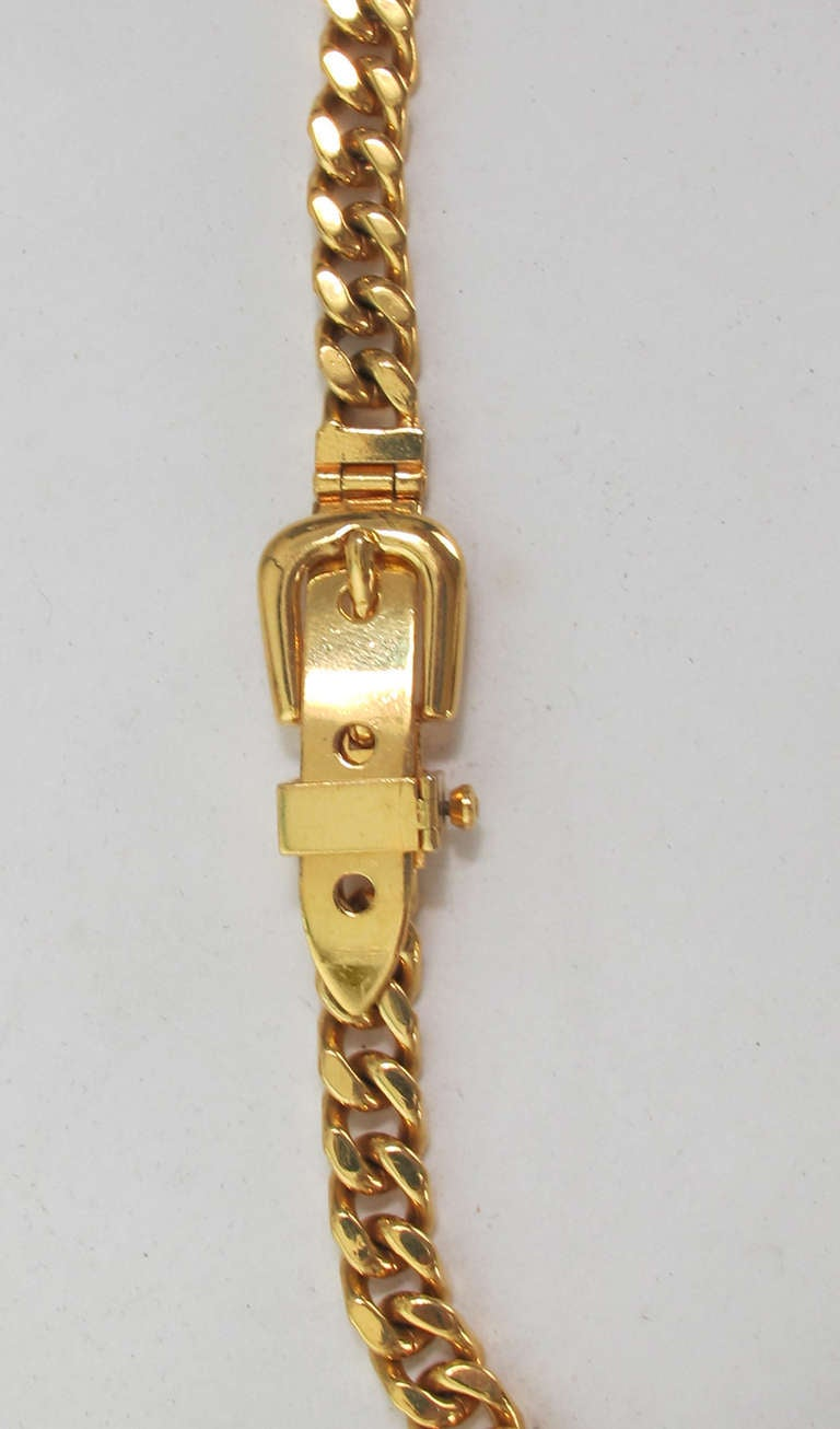 Brown Gucci chunky gold chain link belt For Sale