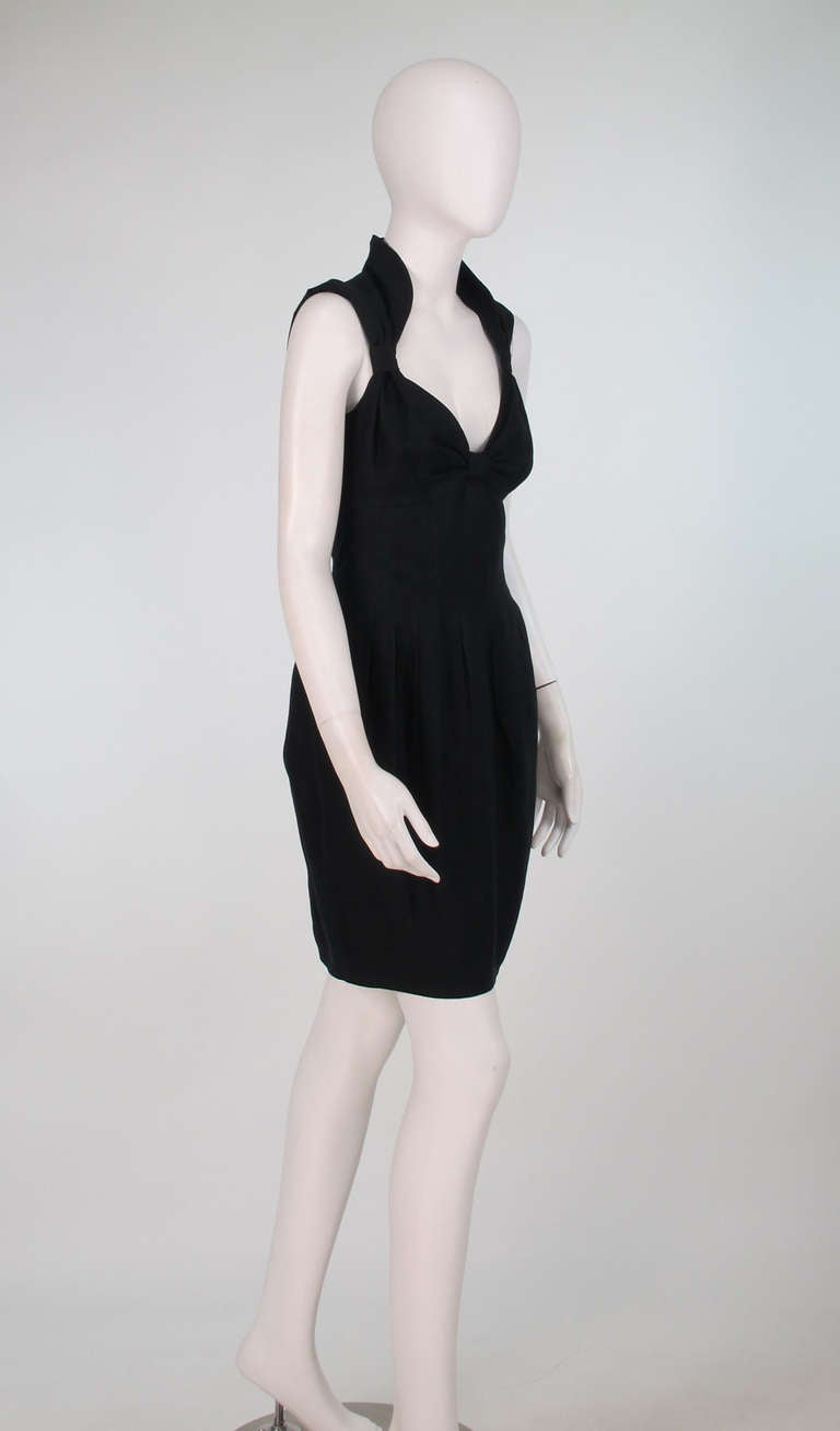 Black 1990s Fendi black linen sweetheart neckline dress For Sale