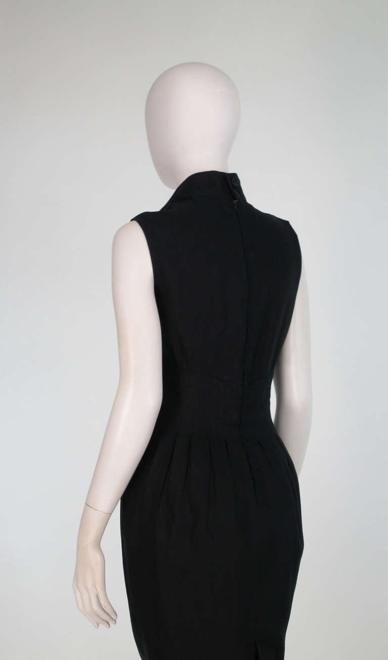 1990s Fendi black linen sweetheart neckline dress For Sale 2
