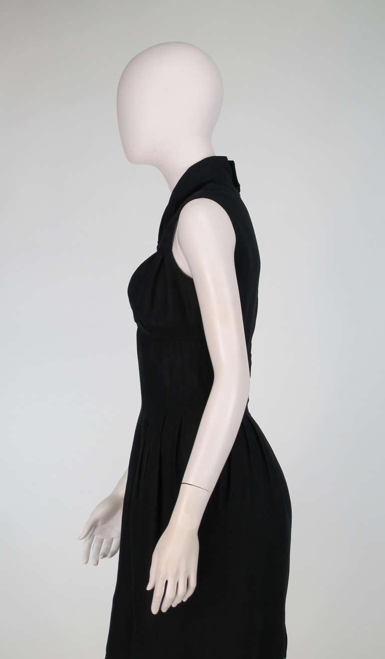 1990s Fendi black linen sweetheart neckline dress For Sale 3