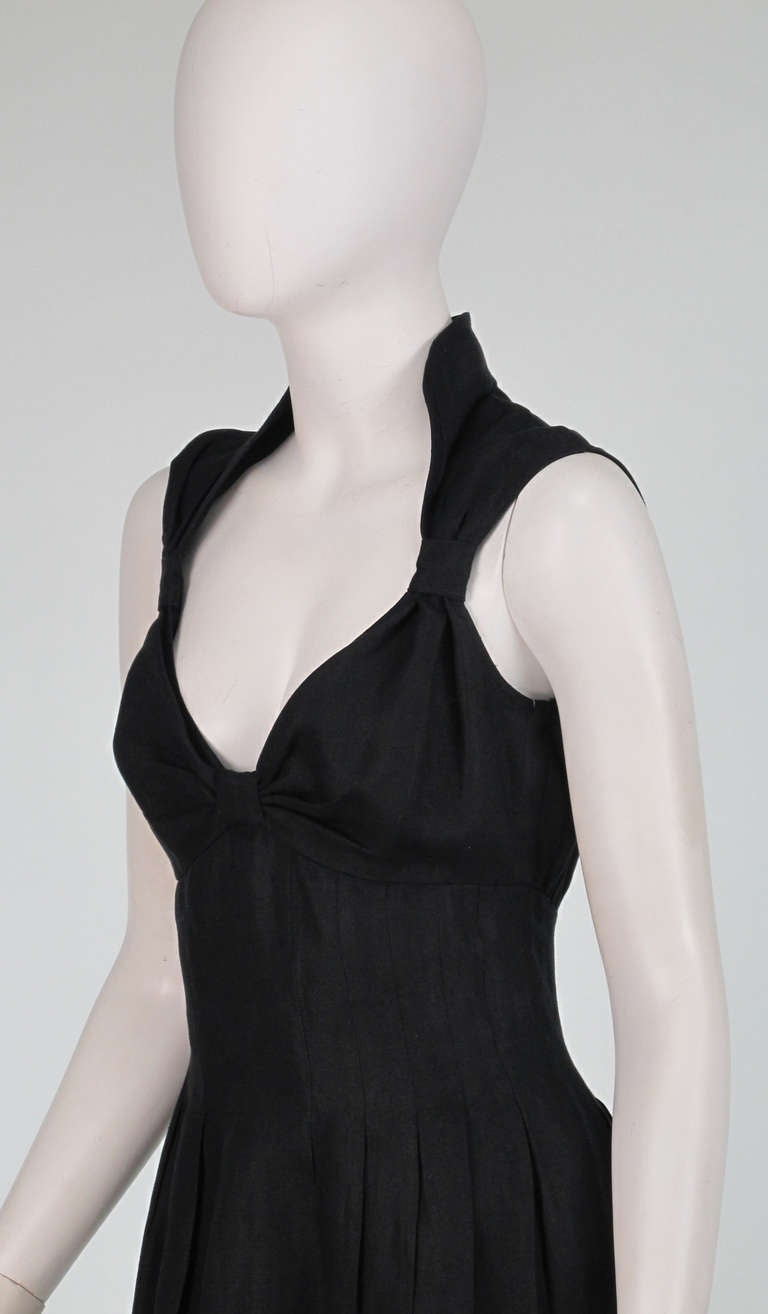 1990s Fendi black linen sweetheart neckline dress For Sale 4