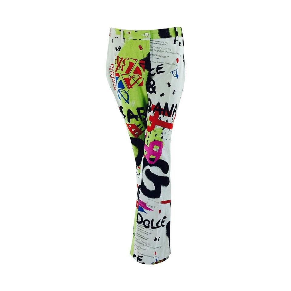 1990s Dolce & Gabbana grafitti trousers 28/42 1
