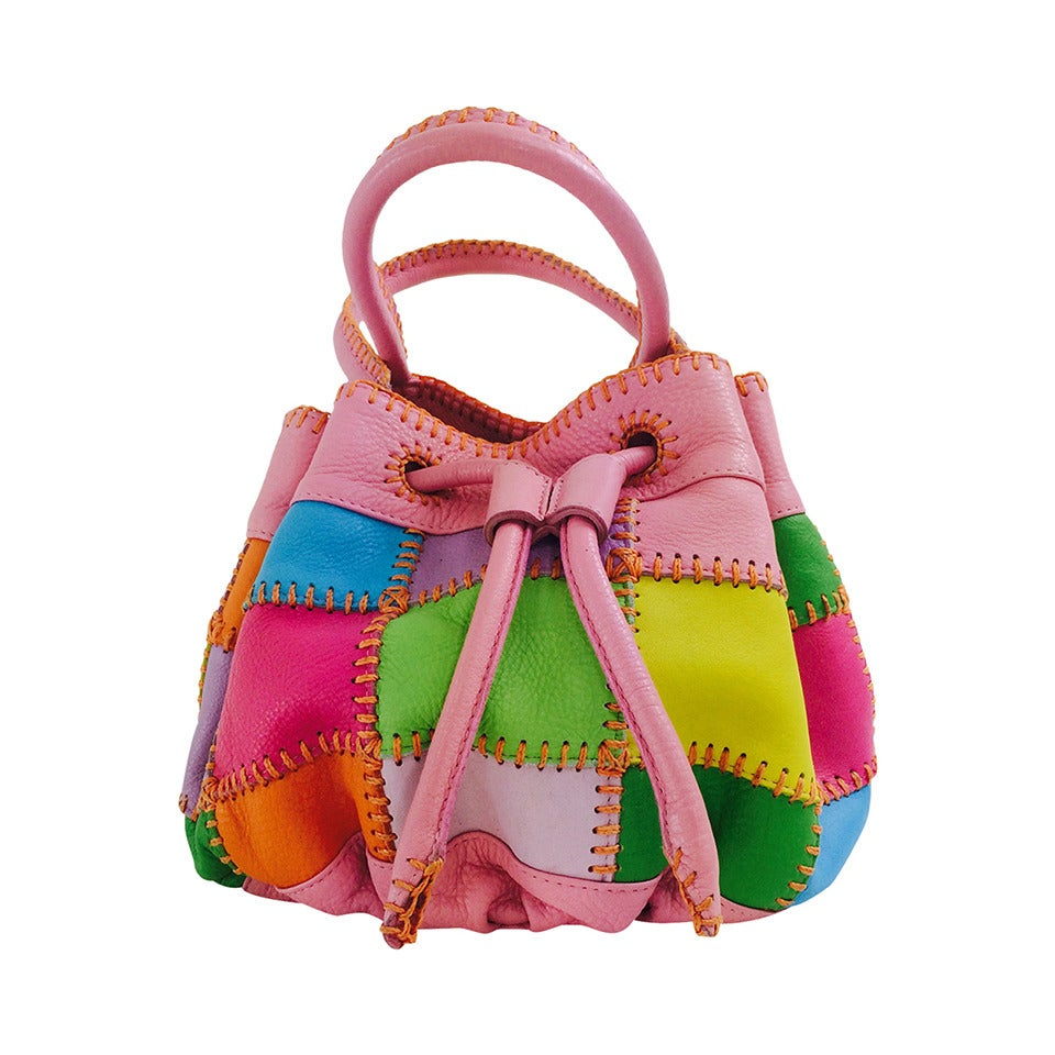 Carlos Falchi soft pebble leather patchwork day bag For Sale