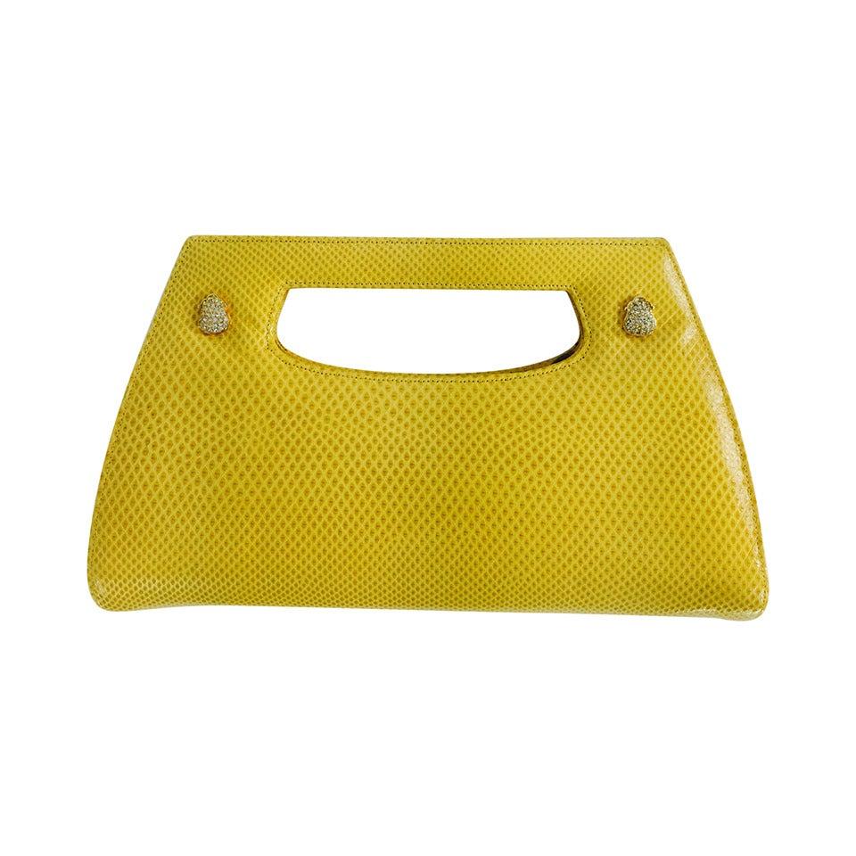 Judith Leiber yellow karung structured handle clutch handbag