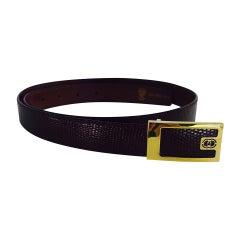 Gucci Burgundy glazed lizard belt with gold buckle