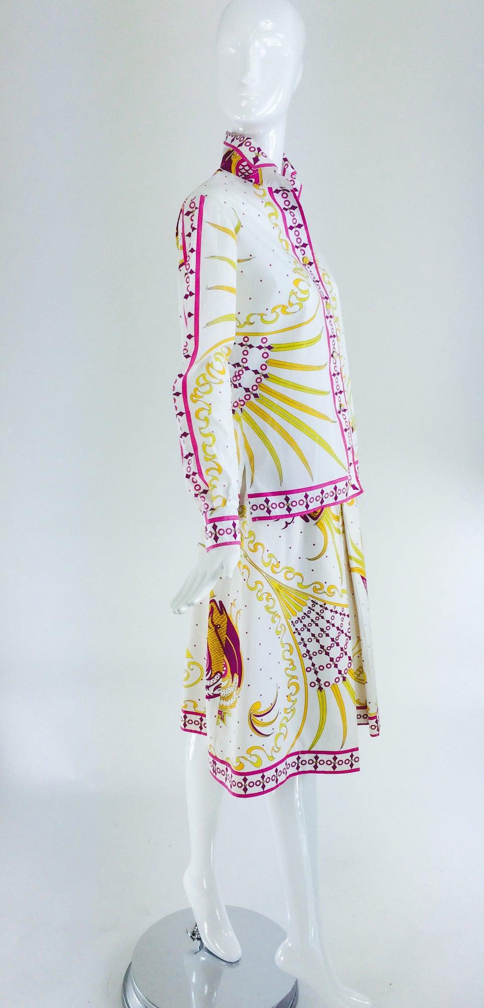 Pucci cotton print blouse & skirt set 1960s For Sale 4
