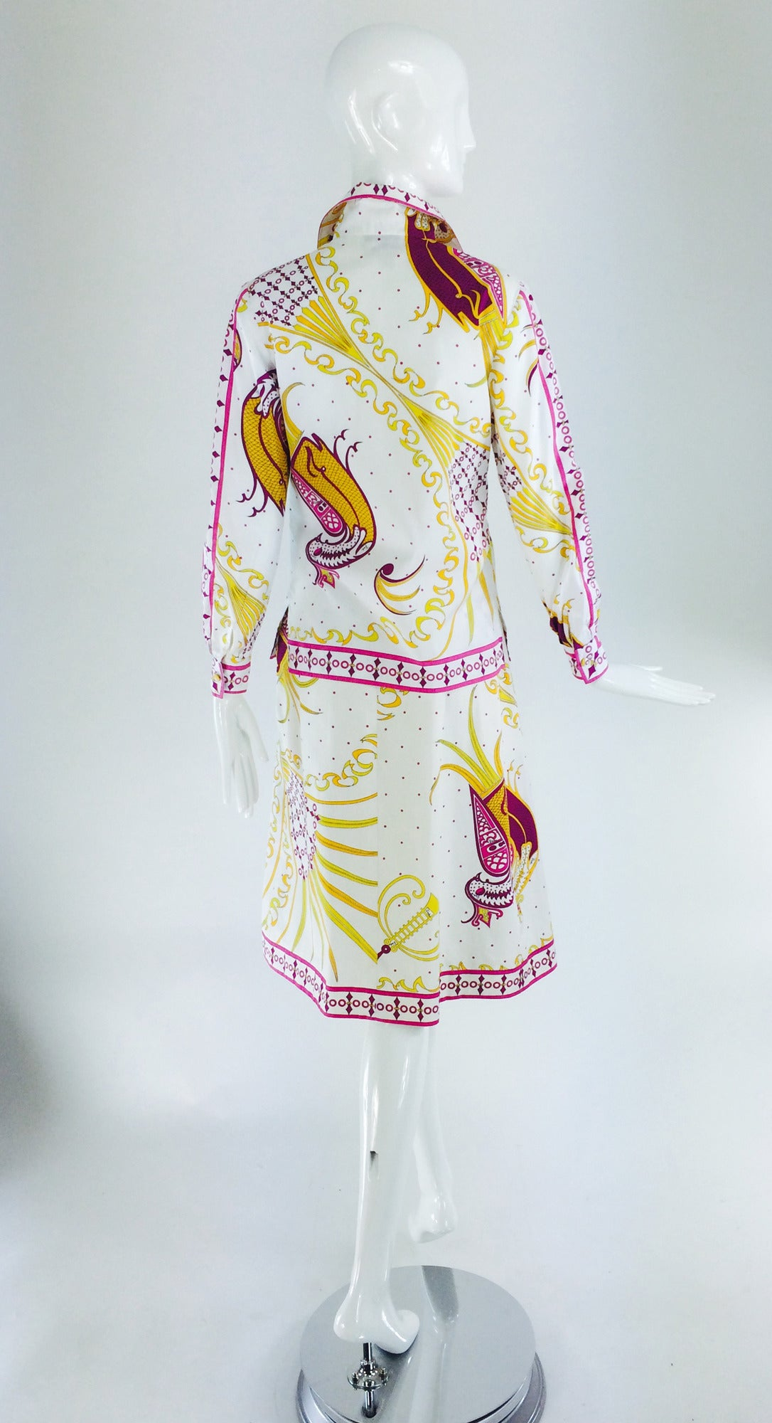Pucci cotton print blouse & skirt set 1960s For Sale 2