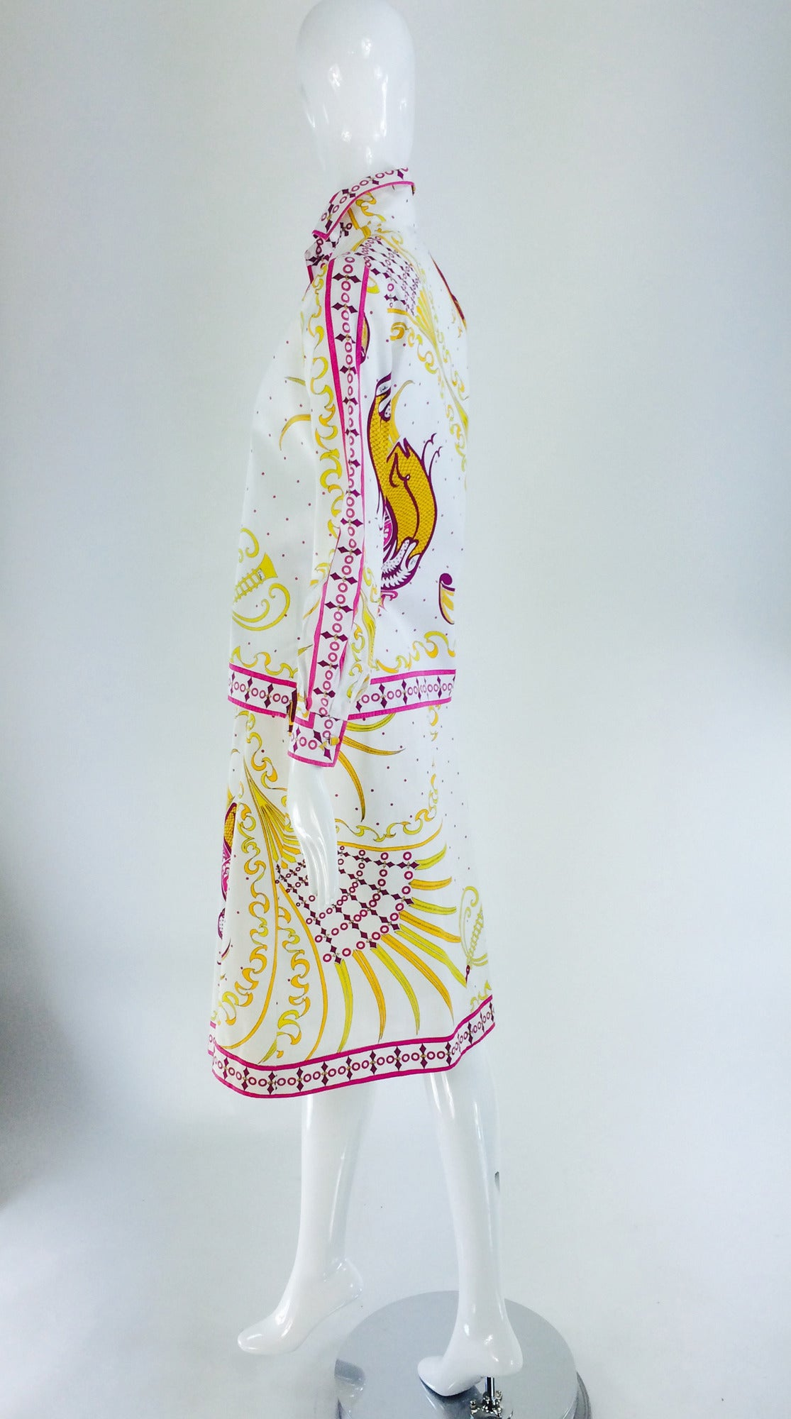 Women's Pucci cotton print blouse & skirt set 1960s For Sale