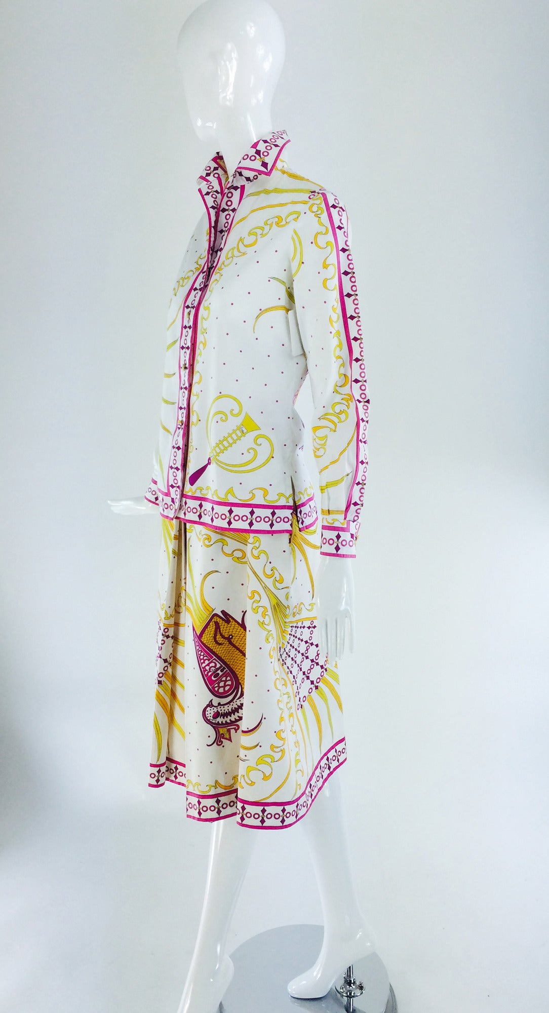 Pucci cotton print blouse & skirt set 1960s In Excellent Condition For Sale In West Palm Beach, FL