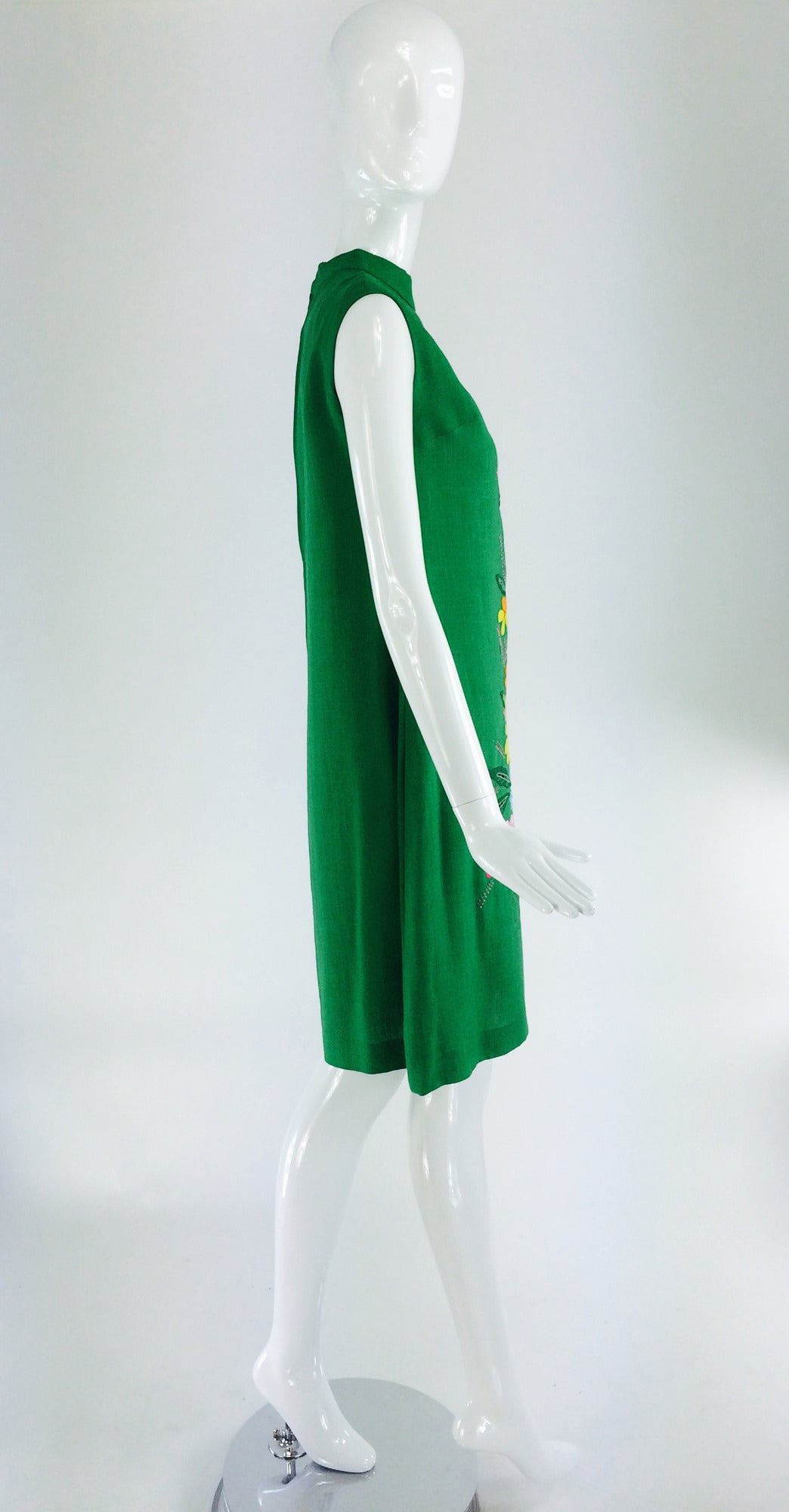 1960s colourful Madeira applique linen shift dress 5