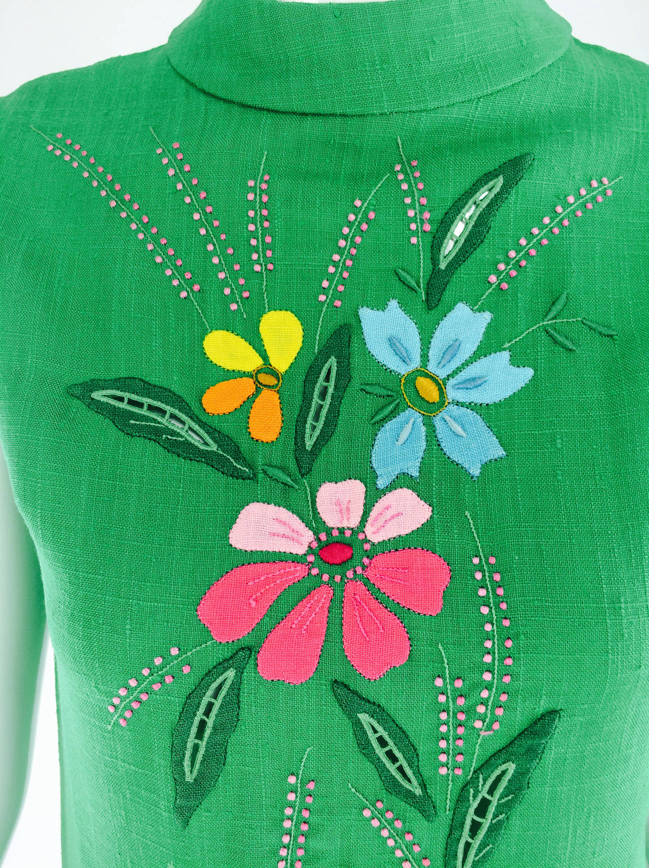 1960s colourful Madeira applique linen shift dress 3