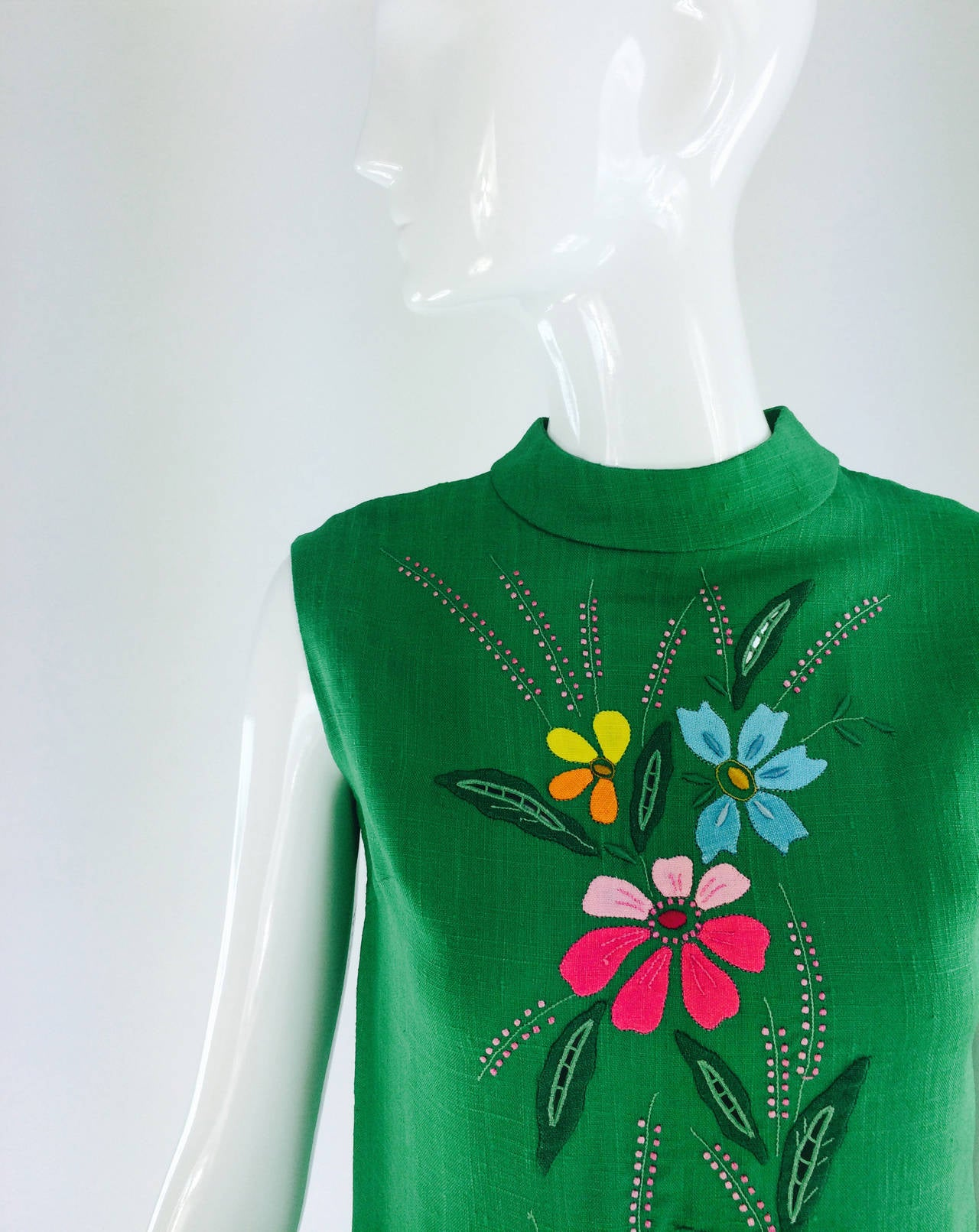1960s colourful Madeira applique linen shift dress 2