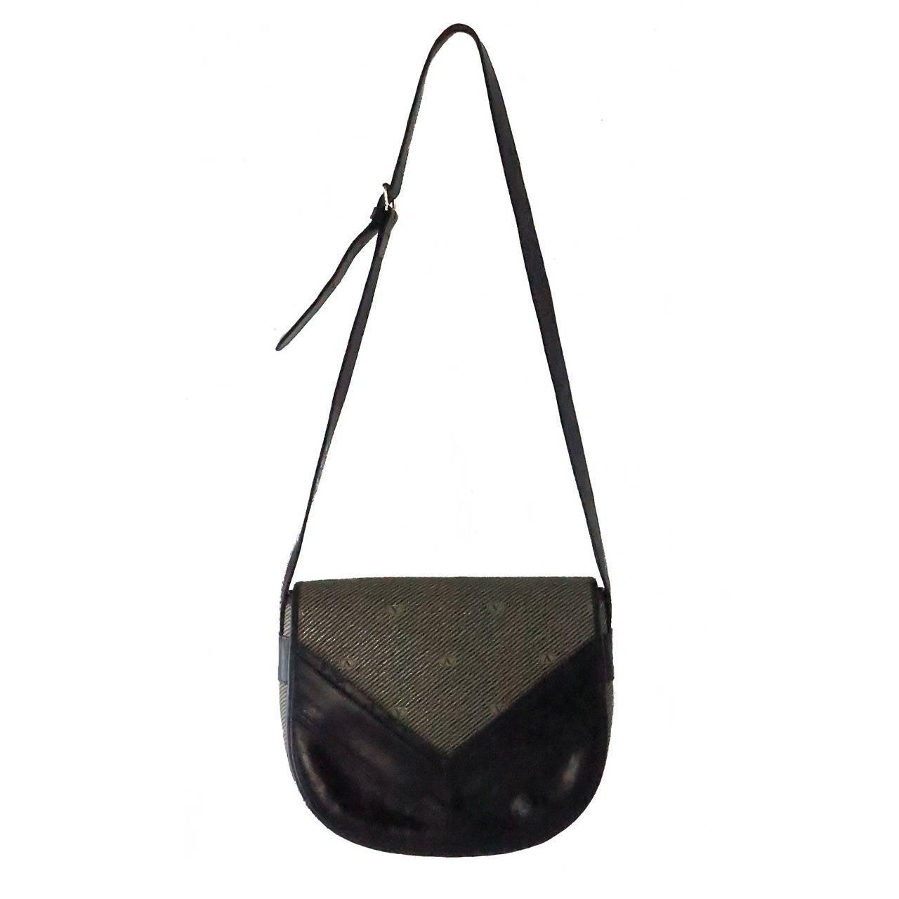 1970s Valentino Navy leather & logo canvas shoulder handbag
