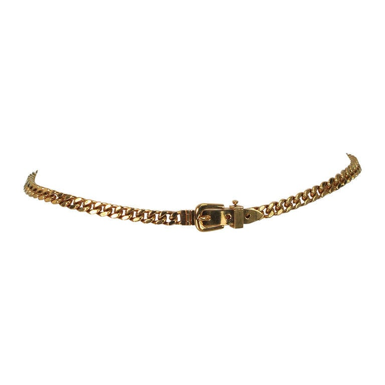 Gucci chunky gold chain link belt For Sale